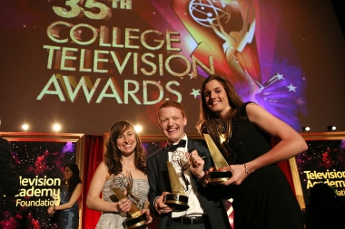 "Jaime Sweet, Michael Busza, and Jen Parmer of Temple University accept the award in the Series category for ""One of the Guys"" at the 35th College Television Awards"