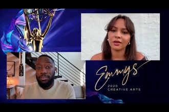 Lamorne Morris presents the Emmy for Outstanding Actress in a Short Form Comedy Or Drama Series to Jasmine Cephas Jones for #FreeRayshawn at Night Four of the Creative Arts Emmys.