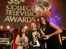 """Jaime Sweet, Michael Busza, and Jen Parmer of Temple University accept the award in the Series category for """"One of the Guys"""" at the 35th College Television Awards"""