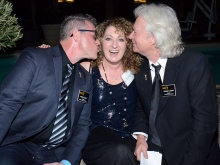 Television Academy governors Norman T. Leavitt and Monte Haught with Patricia Messina at the Makeup and Hair Designers nominee reception September 8, 2015 in Los Angeles, California.