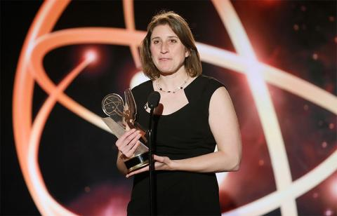 """Deia Schlosberg of Montana State University accepts the award in the Documentary category for """"Backyard"""" at the 35th College Television Awards"""