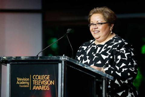 Norma Provencio Pichardo, executive director of the Television Academy Foundation, speaks at the 37th College Television Awards at the Skirball Cultural Center on Wednesday, May 25, 2016, in Los Angeles.