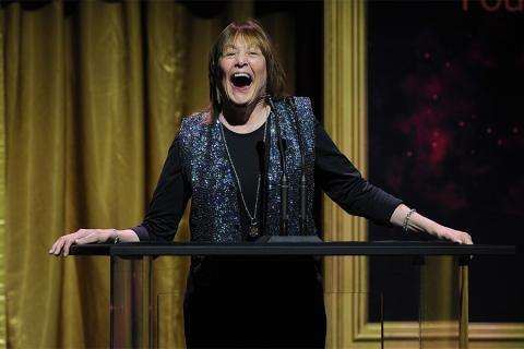 Geri Jewell presents an award at the 36th College Television Awards at the Skirball Cultural Center in Los Angeles, California, April 23, 2015.