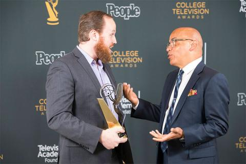 Benjamin Hoff and Television Academy governor Rickey Minor at the 38th College Television Awards presented by the Television Academy Foundation at the Saban Media Center on Wednesday, May 24, 2017, in the NoHo Arts District in Los Angeles.