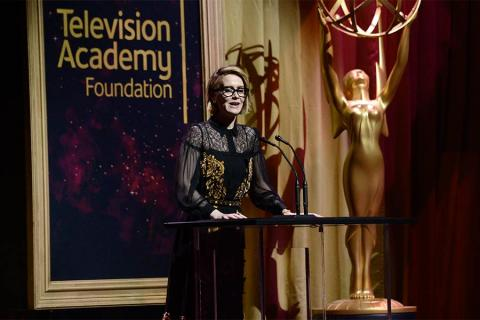 Sarah Paulson presents an award at the 36th College Television Awards at the Skirball Cultural Center in Los Angeles, California, April 23, 2015.