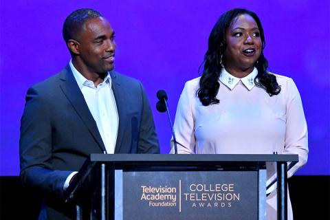 Jason George and Wendy Calhoun present an award on stage at the 38th College Television Awards presented by the Television Academy Foundation at the Saban Media Center on Wednesday, May 24, 2017, in the NoHo Arts District in Los Angeles.