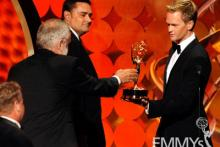 "Winners of Best Art Direction for Movie/Mini for ""The Pacific"" with Neil Patrick Harris onstage"