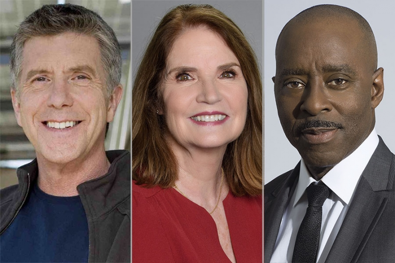 Tom Bergeron, Kathy Connell, and Courtney B. Vance