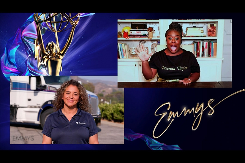 Jacinda Duran, essential worker and truck driver, presents the Emmy for Outstanding Supporting Actress in a Limited Series or Movie to Uzo Aduba for Mrs. America at the 72nd Emmy Awards.