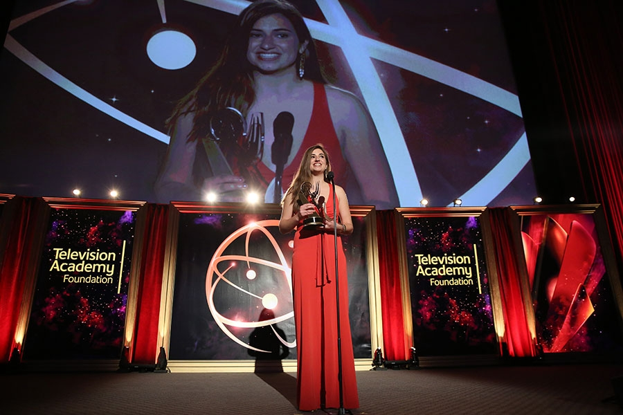 Kristin Leffler accepts The Loreen Arbus Focus on Disability Scholarship award at the 35th College Television Awards