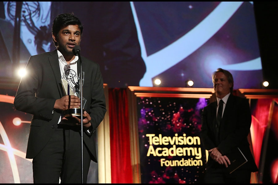 "Shubhashish Bhutiani of School of Visual Arts accepts the Directing Award for ""Kush"" at the 35th College Television Awards"
