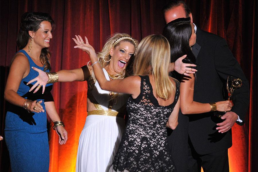 The KTLA News team celebrate their win at the 66th Los Angeles Area Emmy Awards.