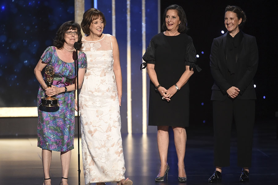 Julie Cohen, Betsy West, Amy Entelis, and Courtney Sexton accept award at the 2019 Creative Arts Emmys.