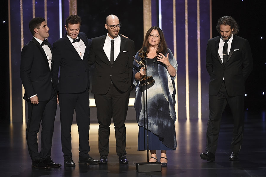 The sound editing team from Free Solo accept their award at the 2019 Creative Arts Emmys.