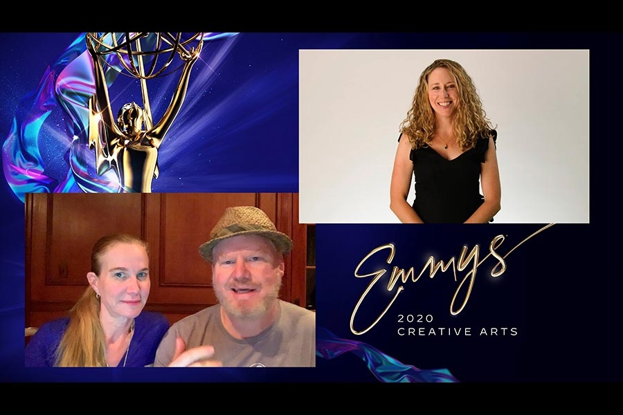 Jeannie Gaffigan and Jim Gaffigan presents the award for Outstanding Short Form Nonfiction Or Reality Series to Sarah Lavoie for National Geographic Presents Cosmos: Creating Possible Worlds at Night One of the Creative Arts Emmys.
