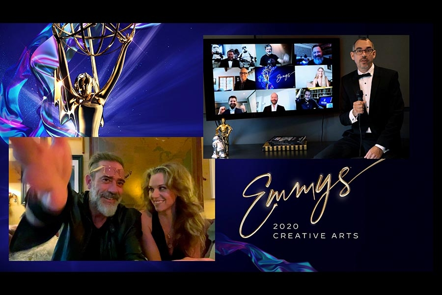 Hilarie Burton Morgan and Jeffrey Dean Morgan present the Emmy for Outstanding Special Visual Effects to Richard Bluff and the team from The Mandalorian at Night Three of the Creative Arts Emmys.