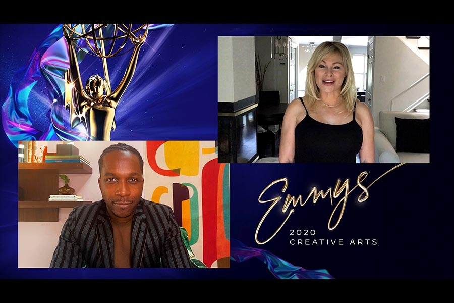 Leslie Odom Jr. presents the Emmy for Outstanding Casting For A Comedy Series to Lisa Parasyn for Schitt's Creek at Night Four of the Creative Arts Emmys.