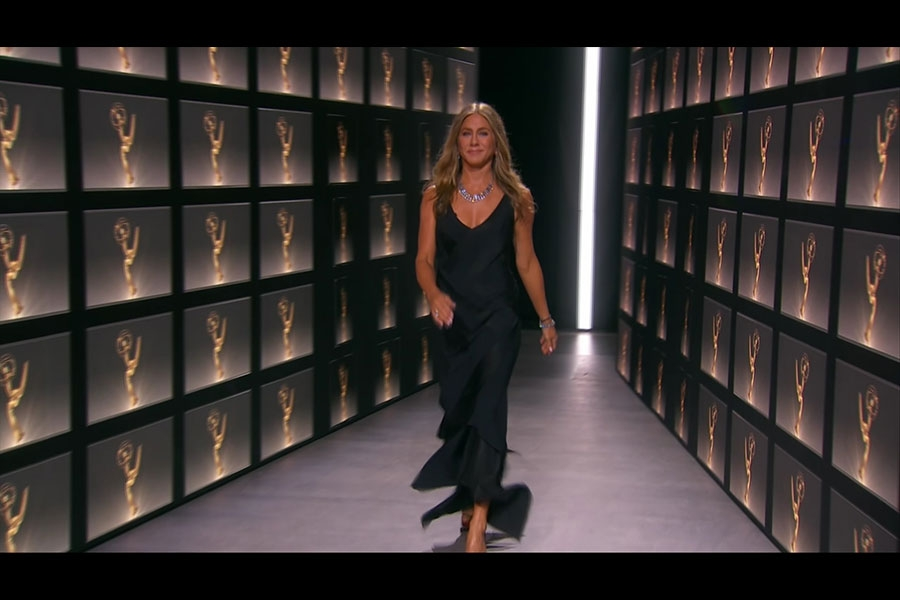 Jennifer Aniston presents the Emmy for Outstanding Lead Actress in a Comedy Series during the 72nd Emmy Awards.