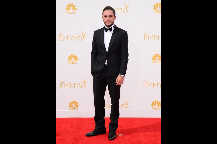 Kit Harington of Game of Thrones arrives at the 66th Emmy Awards.