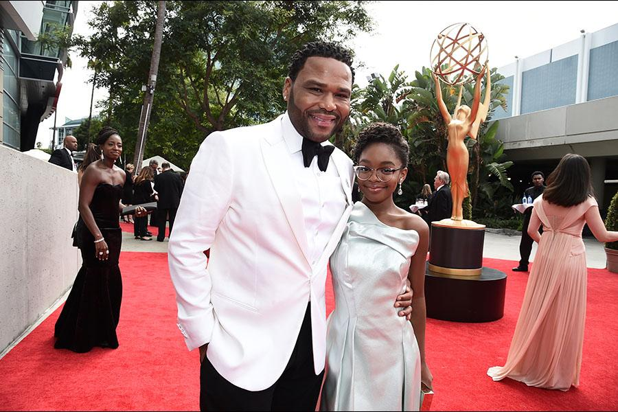 Anthony Anderson and Marsai Martin on the red carpet at the 2017 Primetime Emmys.