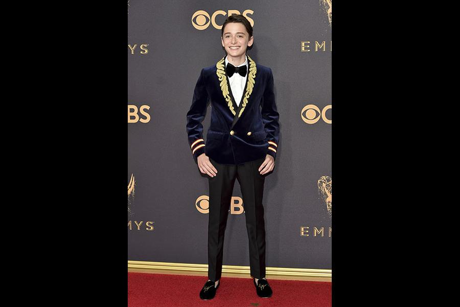Noah Schnapp on the red carpet at the 2017 Primetime Emmys.