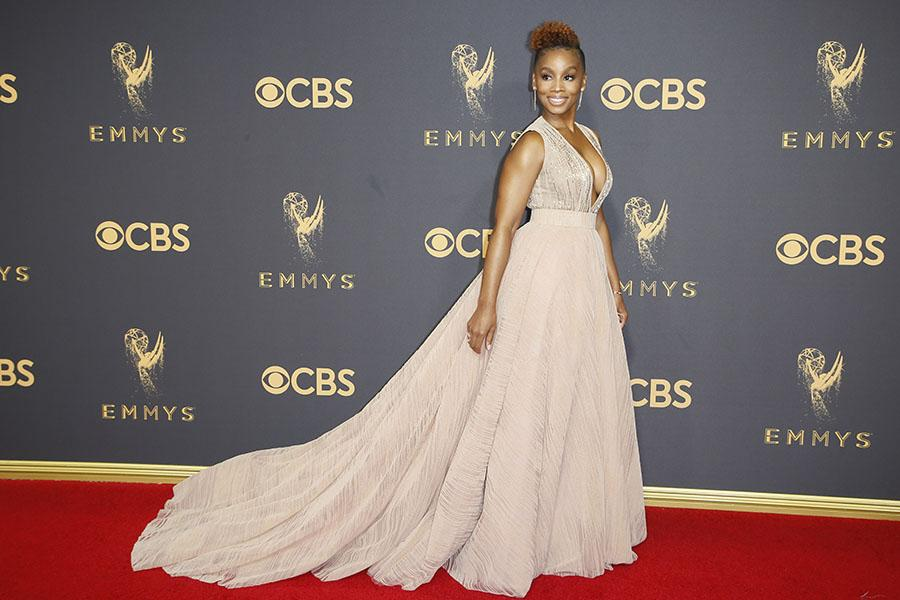 Anika Noni Rose on the red carpet at the 2017 Primetime Emmys.