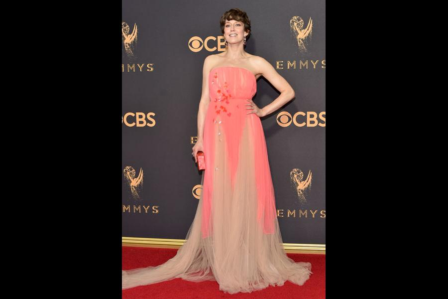 Carrie Coon on the red carpet at the 2017 Primetime Emmys.