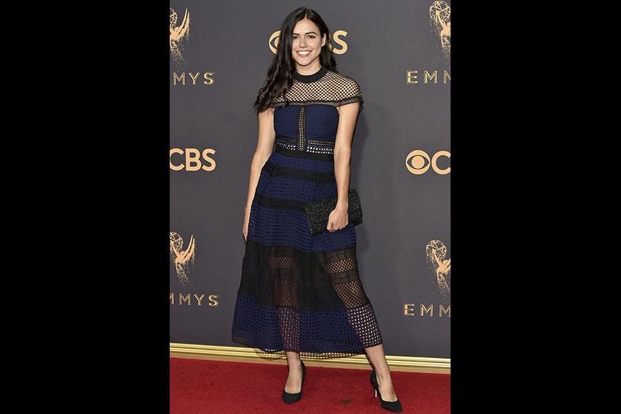 Nina Kiri on the red carpet at the 2017 Primetime Emmys.