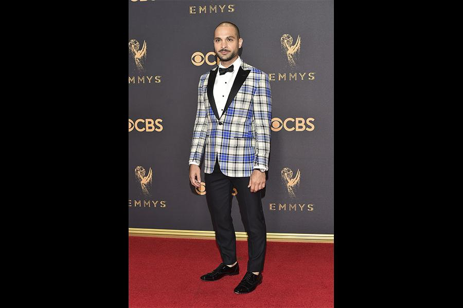 Michael Mando on the red carpet at the 2017 Primetime Emmys.