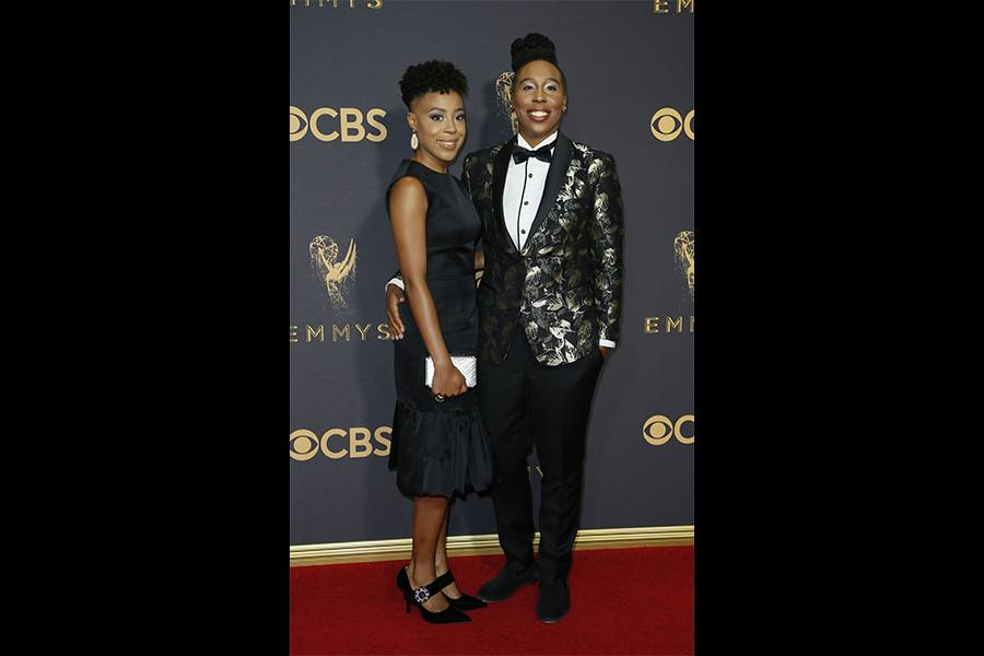 Alana Mayo and Lena Waithe on the red carpet at the 2017 Primetime Emmys.