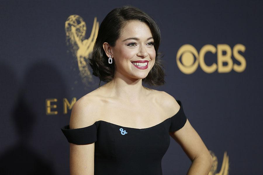 Tatiana Maslany on the red carpet at the 69th Primetime Emmy Awards