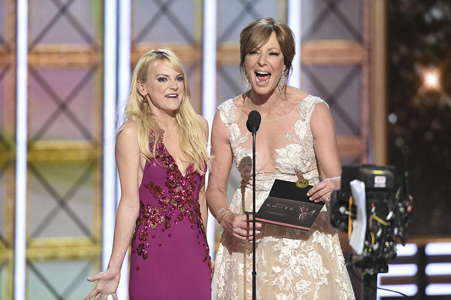 Anna Faris and Allison Janney on stage at the 2017 Primetime Emmys.