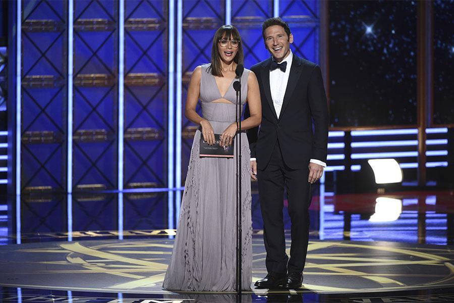 Rashida Jones and Mark Feuerstein on stage at the 69th Primetime Emmy Awards