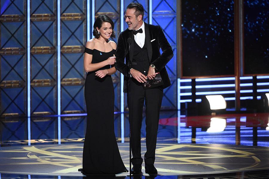 Tatiana Maslany and Jeffrey Dean Morgan present an award at the 69th Primetime Emmy Awards