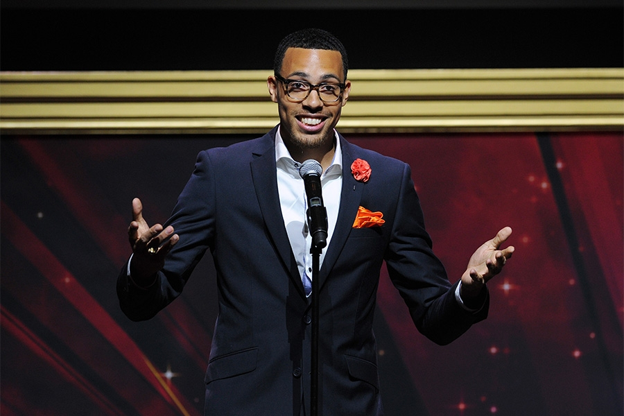 Geenie Deez accepts an award at the 36th College Television Awards at the Skirball Cultural Center in Los Angeles, California, April 23, 2015.