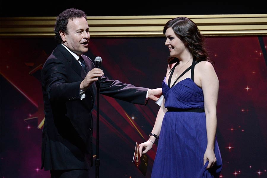 Mitchell Hurwitz and Melanie Lynsky at the 36th College Television Awards at the Skirball Cultural Center in Los Angeles, California, April 23, 2015.