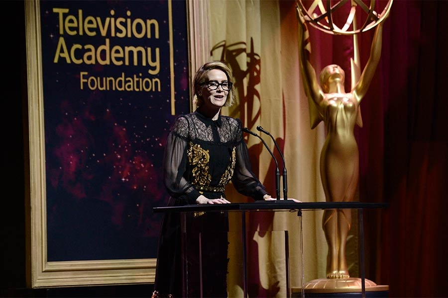Sarah Paulson presents an award at the 36th College Television Awards at the Skirball Cultural Center in Los Angeles, California, April 23, 2015.