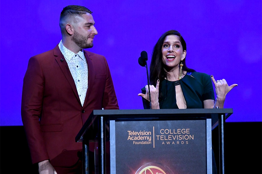 Josh Feldman and Shoshannah Stern on stage at the 38th College Television Awards presented by the Television Academy Foundation at the Saban Media Center on Wednesday, May 24, 2017, in the NoHo Arts District in Los Angeles.