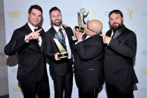 Jon Milano, Christopher Naughton, and friends at the 37th College Television Awards at the Skirball Cultural Center on Wednesday, May 25, 2016, in Los Angeles.