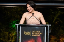 Lana Parilla speaks at the 37th College Television Awards at the Skirball Cultural Center on Wednesday, May 25, 2016, in Los Angeles.