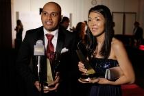 Award winners Prasad Narse, left, and Munkhtsetseg Nandigjav at the Thank You Cam at the 35th College Television Awards