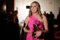Award winner Madison Way at the Thank You Cam at the 35th College Television Awards