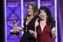 Sasha Alpert and Megan Sleep accept their award at the 2017 Creative Arts Emmys.