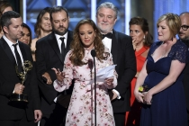 Leah Remini and the Leah Remini: Scientology and the Aftermath team accept an award at the 2017 Creative Arts Emmys.