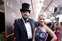 Chris Sullivan and Rachel Reichard on the red carpet at the 69th Primetime Emmy Awards