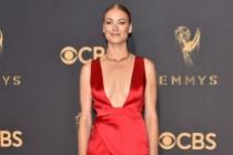 Yvonne Strahovski on the red carpet at the 2017 Primetime Emmys.