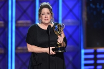 Ann Dowd accepts her award at the 2017 Primetime Emmys.