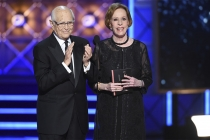 Norman Lear and Carol Burnett on stage at the 2017 Primetime Emmys.