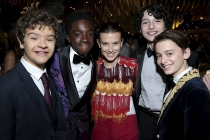 Gaten Matarazzo, from left, Caleb McLaughlin, Millie Bobby Brown, Finn Wolfhard and Noah Schnapp at the 69th Emmys Governors Ball.