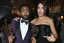 Donald Glover and Mandy Moore at the 69th Emmys Governors Ball.